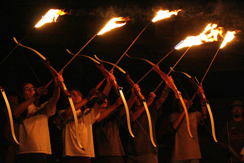 Arch And Arrow With Fire Baw Weapons